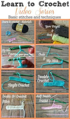 Learn to Crochet Video Series by Katie's Crochet Goodies – FREE! Basic stitches … Learn to Crochet Video Series by Katie's Crochet Goodies – FREE! Basic stitches and techniques —-> www. Crochet Diy, Crochet Simple, Crochet Basics, Learn To Crochet, Crochet Crafts, Sewing Crafts, Basic Crochet Stitches, Diy Crafts, How To Single Crochet