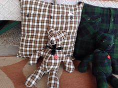 Pillows and bears made from a fathers shirt.  a great memory item.  Not made by me.