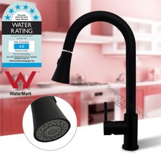 Brass-Nero-Black-Swivel-Kitchen-Sink-Laundry-Pull-Out-Down-Mixer-Tap-Faucet-WELS