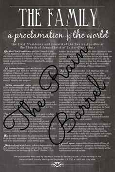 The Family (A Proclamation to the World) Printable AND it comes in white too! #generalconference #lds #mormon