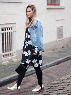 Bring on the blooms | Style by Jules. Black floral dress+black stir-up leggins+white pumps+denim jacket+black shoulder bag. Spring Casual Outfit 2017