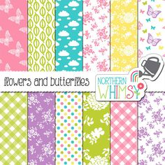 Spring Digital Paper – flower, gingham, & butterfly paper in spring colors…