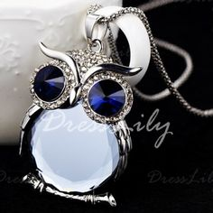 2 Color Trendy Owl Necklace Fashion Rhinestone Blue Eyes Jewelry Statement Women Necklace Chain Long Necklaces Pendants Yet Not Vulgar Jewelry & Accessories
