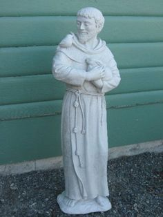 SAINT St. FRANCIS Of ASSISI Statue PATRON Of ANIMALS Catholic Religion  ANTIQUE GRAY Natural Stone Finish OUTDOOR Indoor GARDEN Statuary CAST  CEMENT Made In ...