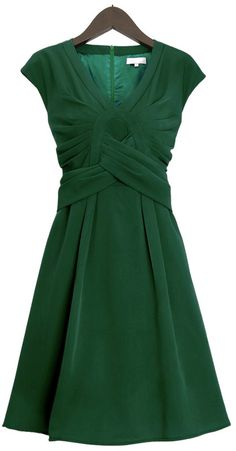 LOVE what you can do with fabric!   Mikali Emerald Green Origami Pleated Dress
