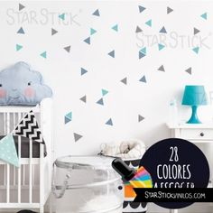 Triángulos Hipster color a escoger - Vinilos decorativos Baby Boy Rooms, Baby Room, Wall Wallpaper, Kids Bedroom, New Baby Products, Kids Rugs, Home Decor, Buildings, Decorating