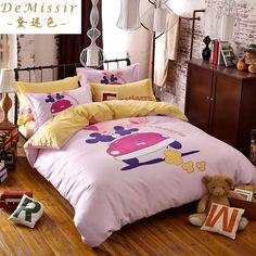 Find More Bedding Sets Information about 20 Colors Cartoon Pink Girl 40S Cotton Bedding Set Children Twin Queen Size 4PCS Duvet Cover housse de couette ropa de cama,High Quality bedding sets black and white,China bedding super king size Suppliers, Cheap bedding cover set from Top Qulity Human Hair Factory on Aliexpress.com