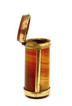 19C Continental Art Deco Agate Match Safe
