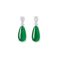AN IMPORTANT PAIR OF JADEITE AND DIAMOND PENDENT EARRINGS Estimate: HK$10,000,000 - 15,000,000 US$1,280,000 - 1,900,000 Cabochons measuring approximately 28.85 x 14.76 x 7.71 and 28.47 x 14.77 x 7.69mm respectively.