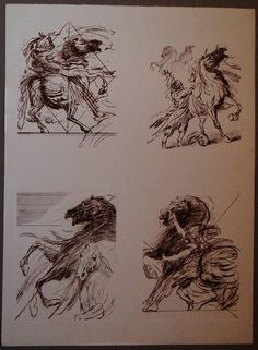 Claude Weisbuch Style Lithograph Horses Christmas Gift
