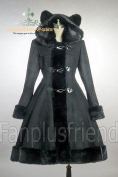 fanplusfriend - Cutie Gothic, Sweet Lolita: Bear Ears Hood Wool Coat, $180.25 (http://www.fanplusfriend.com/cutie-gothic-sweet-lolita-bear-ears-hood-wool-coat/)