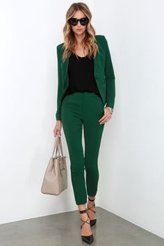 If you're a girl that knows how to balance business and pleasure, you're sure to love the Vixen Vocation Dark Green Trouser Pants! Woven fabric shapes a classic trouser pant. Green Pants Outfit, Dark Green Pants, Fall Pants, Trouser Pants, Suits For Women, Casual Outfits, Work Outfits, Autumn Winter Fashion, My Style