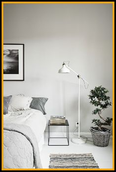 Unique Floor Lamps For Bedroom.Contemporary Floor Lamps For Your Modern Style At House . Home and Family Grey Table Lamps, Table Lamps For Bedroom, Bedroom Furniture, White Lamps, Dining Furniture, Modern Furniture, Bedroom Corner, Living Room Bedroom, Bedroom Bookshelf