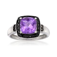 1.60 Carat Square Amethyst Ring With Black Diamonds In 14kt White Gold  Item#: 605732