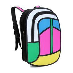 Japanese #Unisex Space #3D Jump Style 2D #Drawing Cartoon Paper #Animation Comic #Backpack #Satchel Shoulder #Bags #HandBags