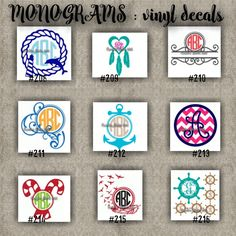 MONOGRAM vinyl decals | name | initial | decal | sticker | car decals | car stickers | laptop sticker - 208-216