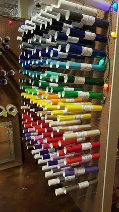 Peg board Vinyl Storage, Craft Room Storage, Paper Storage, Vinyl Crafts, Vinyl Projects, Paint Organization, Organization Ideas, Storage Ideas, Office Organisation