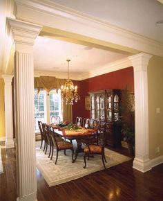 i love this dinning room plan, only if it were a little simpler without all  the fancy greek columns and ugly colored drapes no offense.