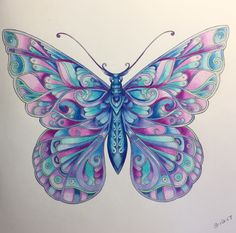 """Julie Bouve with a coloring tutorial for Johanna Basford's """"Magical Jungle"""" butterfly; Butterfly Drawing, Butterfly Painting, Butterfly Wallpaper, Butterfly Flowers, Beautiful Butterflies, Coloring Book Art, Coloring Pages, Adult Coloring, Colouring"""