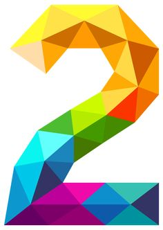 Colourful Triangles Number Two PNG Clipart Image