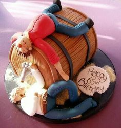Birthday Cakes For Men, Funny Birthday Cakes, Novelty Birthday Cakes, Novelty Cakes, Birthday Cupcakes, Birthday Beer, 21st Birthday, Barrel Cake, Cake In A Can