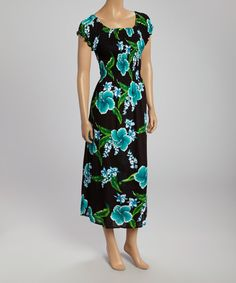 Take+a+look+at+the+Black+&+Turquoise+Flower+Shirred+Maxi+Dress+on+#zulily+today!