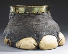Neither Ivory, Tortoise nor Horn...just didn't know where to put it! An Edwardian elephant's foot waste paper bin with brass rim and associated metal liner  11¾in. (29.8cm.) high overall