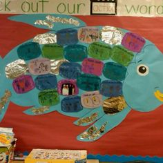 """My classroom project from the book the """"Rainbow Fish."""". It was a lesson on friendship. Every kindergartener has a scale with a word or phrase describing what friendship means to them with a small picture. :-)"""
