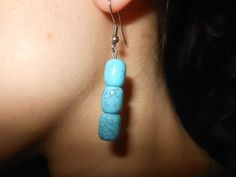 """Turquoise Drop Earrings-Turquoise will go with anything-It is always in style-By """"Iki""""-Etsy"""