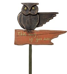 "Painted Wooden Owl Halloween Sign ~ rustic painted wood figure on metal yard stake, 19""w x 43""h x 3""d overall, $40 
