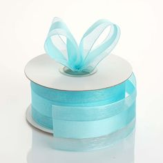 "25 Yards | 1.5"" DIY Turquoise Organza Ribbon Satin Center"