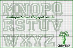 os - Dinha Ponto Cruz - bem vindos deixem seus comentári Cross Stitch Alphabet Patterns, Letters, Words, Crochet, Link, Clothespin Bag, Cross Stitch Letters, Cross Stitch Alphabet, Cross Stitch Embroidery