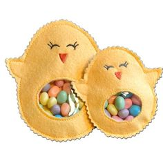 Chick Candy Cuties are fun and easy to make in the hoop. A pocket with a flap in the back allows you to fill their tummies for a yummy Easter treat!