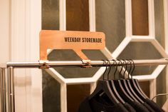 Weekday store by Gonzalez Haase, Amsterdam store design - fantastic way to display brand name, sale info, cost info, organic info etc. nice and clean way of communication to the customer.