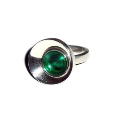 ring 'concave green', silver, acrylic glass