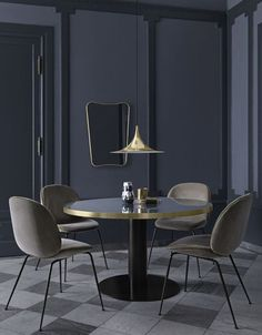 GUBI |  2.0 Table, Beetle Dining chairs, Semi Pendat & F.A. 33 mirror |Manuel Lucas Muebles