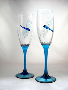 Hand Painted Glasses Champagne Toasting Flutes, Painted Dragonfly Wedding Glassware