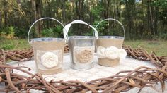 Hey, I found this really awesome Etsy listing at https://www.etsy.com/listing/176562682/set-of-3-rustic-wedding-centerpiece