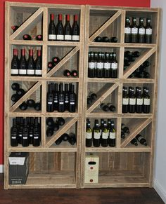 Buffet cabinets – wine rack made of solid timber – a design …- Buffetschränke… Good Wine Brands, Wine Bottle Holders, Wine Bottles, Home Wine Cellars, Wine Rack Storage, Buffet Cabinet, Wine Wall, Pub, Wine Collection