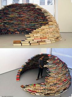 14 creative reading nook ideas, including this curved book fort.