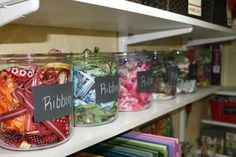 Chalkboard labels on glass jars - would work on my white hutch when it finds its new home in my craft room!