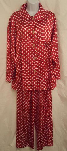 Victoria Secret Pajama Set Medium Silky Polyester Red White Polka Dot 2  Piece  VictoriasSecret  PajamaSets  Everyday 64e1d7088