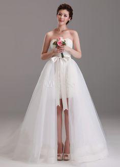 Branco lindo do assoalho-comprimento da bainha querida pescoço arco renda vestido de noiva casamento - Milanoo.com