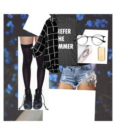 """""""What da"""" by aysiaismej ❤ liked on Polyvore featuring Leg Avenue and Ray-Ban"""