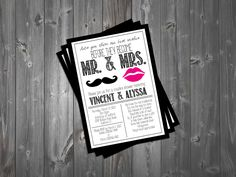 Lips and Mustache Couples Shower His and Hers Jack and Jill