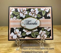 Thanks Magnolia - Paper and Ink Creations Handmade Greeting Card Designs, Thank U Cards, Magnolia Stamps, Embossed Cards, Stamping Up Cards, Get Well Cards, Baby Kind, Paper Cards, Flower Cards