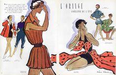 Pierre Simon 1950 Beachwear, Pierre Balmain, Jean Dessès, Hermès