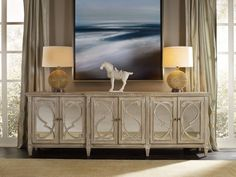 Solana Six Door Console by Hooker Furniture | Furnitureland South | The World's Largest Furniture Store Sideboard Furniture, Hooker Furniture, Furniture Showroom, Large Furniture, Dining Room Furniture, Luxury Furniture, Credenza, Dining Rooms, Modern Furniture