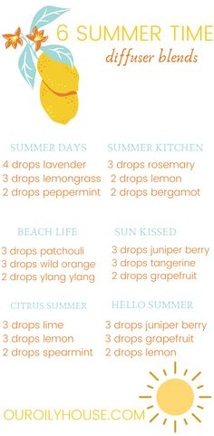 Top 5 summer essential oil diffuser blends for your home or work. Use essential oils to bring the summer smells indoor while receiving aromatherapy benefits. #ouroilyhouse #aromatherapy #essentialoils #diffsuerblends #diy #simple #allnatural #healthy #healthylife #healthylifestyle Essential Oils Allergies, Essential Oils For Headaches, Essential Oils For Sleep, Doterra Essential Oils, Doterra Oil, Sleeping Essential Oil Blends, Essential Oil Diffuser Blends, Essential Oil Combinations, Aromatherapy Benefits
