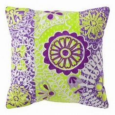 Xhilaration Purple Yellow Embroidered Boho Throw Pillow Accent Toss... ($23) ❤ liked on Polyvore